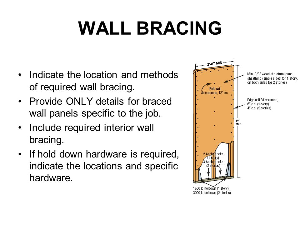 WALL BRACING Indicate the location and methods of required wall bracing. Provide ONLY details for braced wall panels specific to the job.