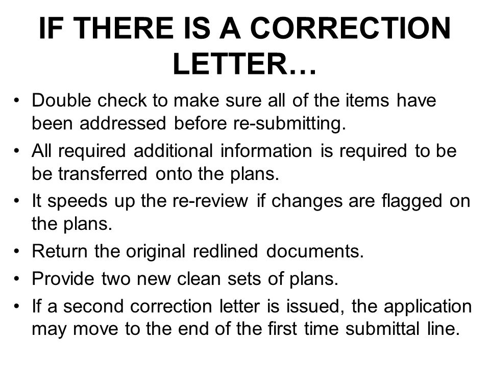 IF THERE IS A CORRECTION LETTER…