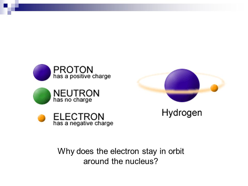 Why does the electron stay in orbit around the nucleus