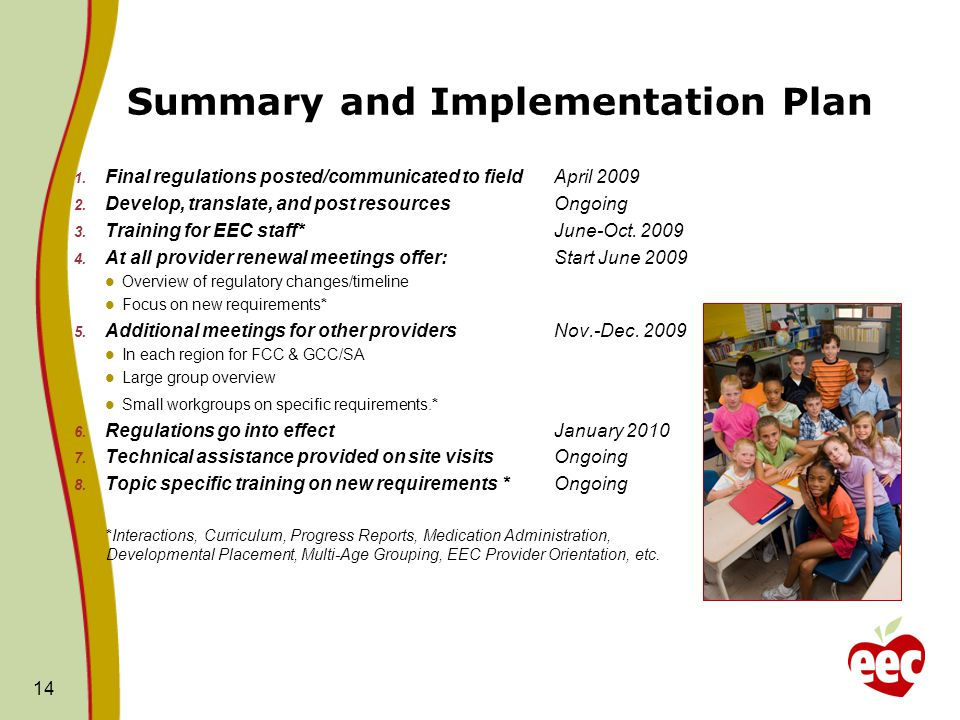 Summary and Implementation Plan