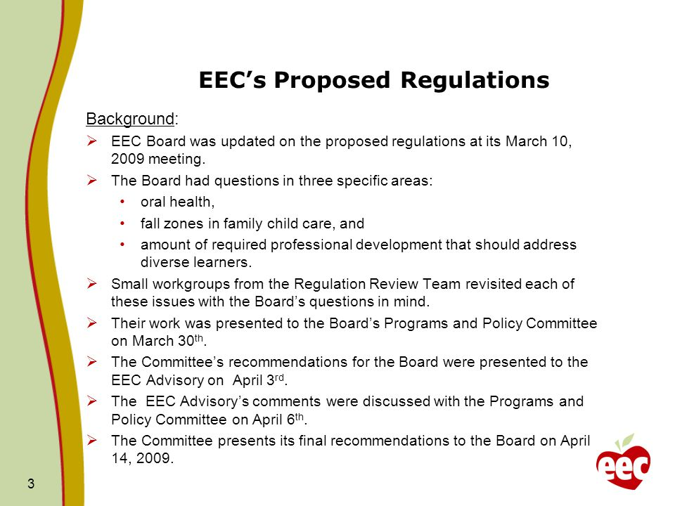 EEC's Proposed Regulations