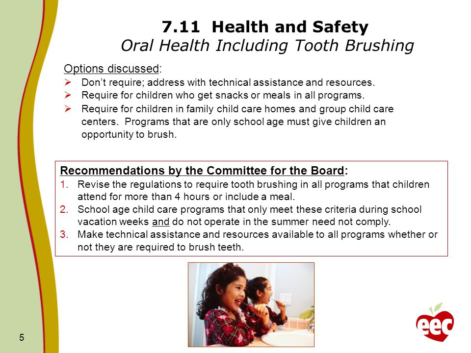 7.11 Health and Safety Oral Health Including Tooth Brushing