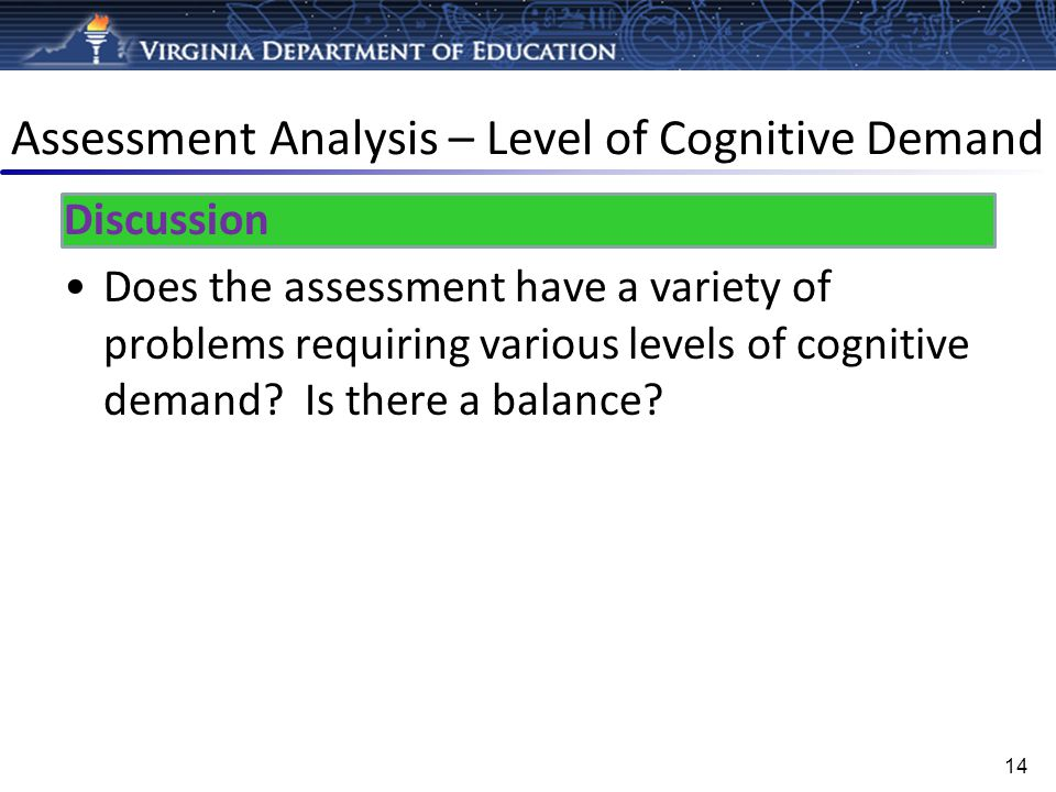 Assessment Analysis – Level of Cognitive Demand