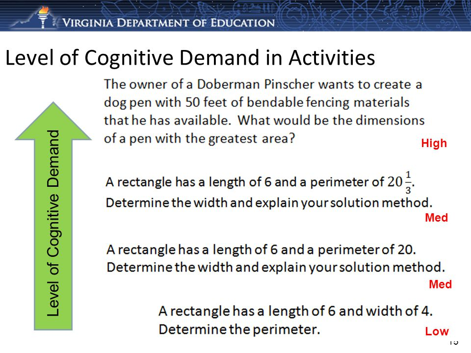 Level of Cognitive Demand in Activities