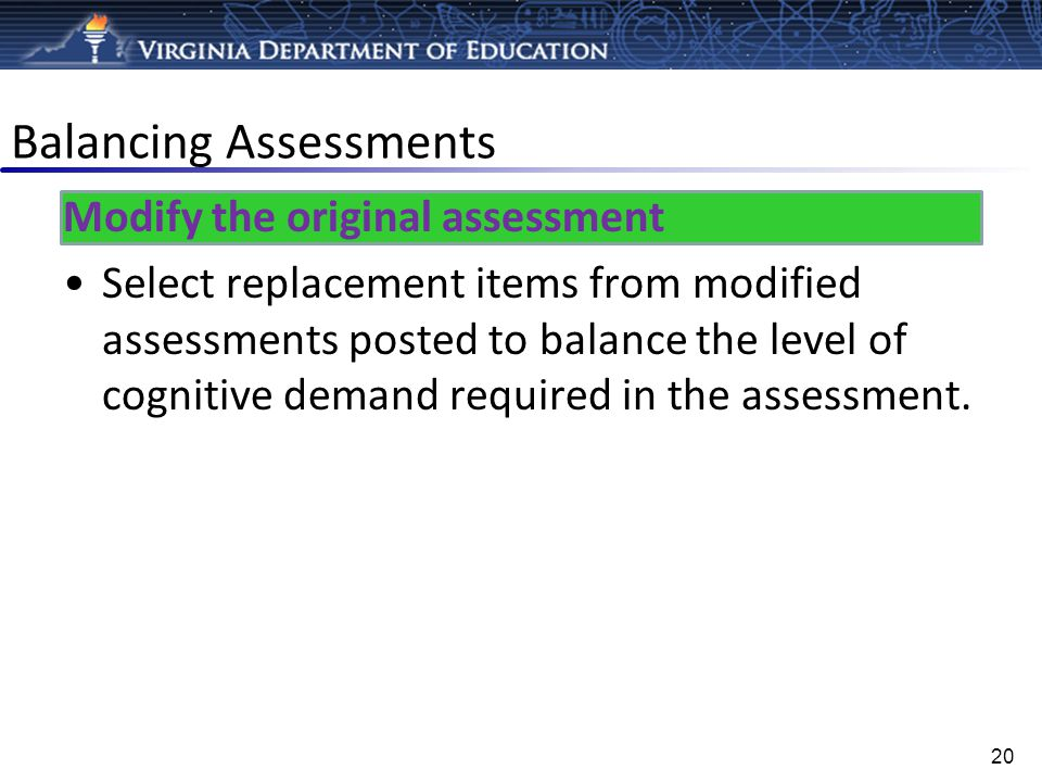 Balancing Assessments