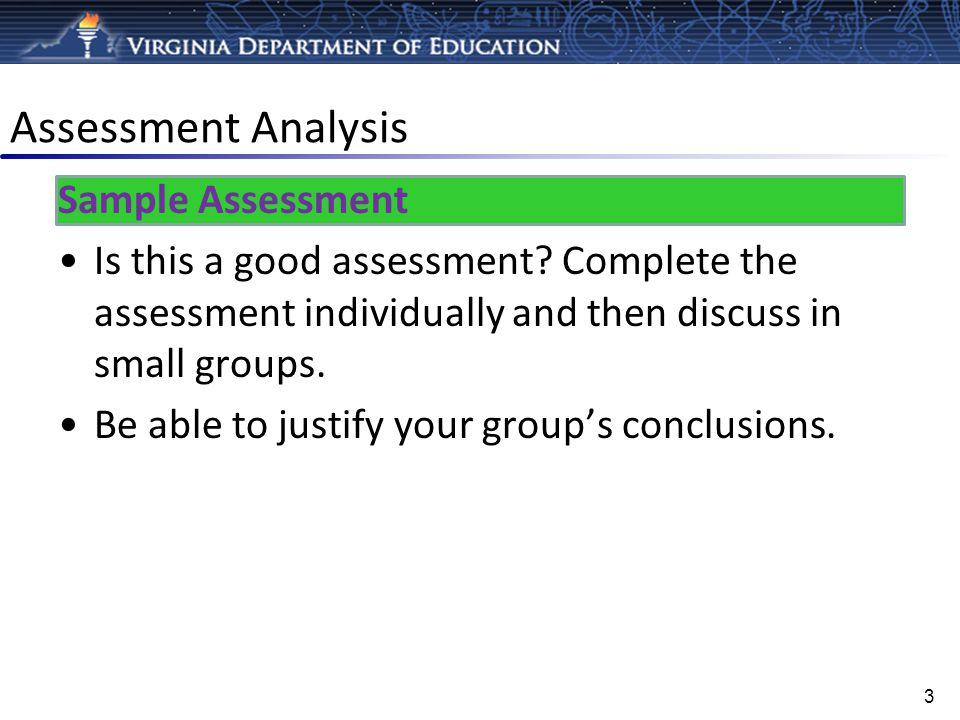 Assessment Analysis Sample Assessment