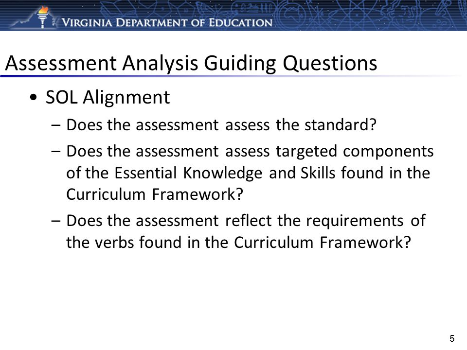 Assessment Analysis Guiding Questions