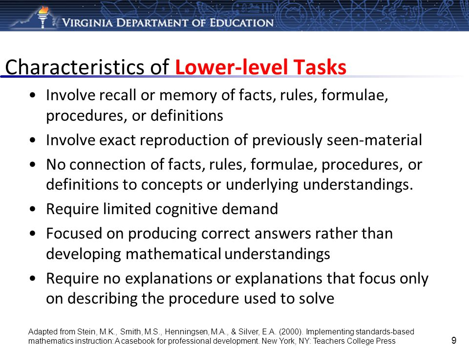 Characteristics of Lower-level Tasks
