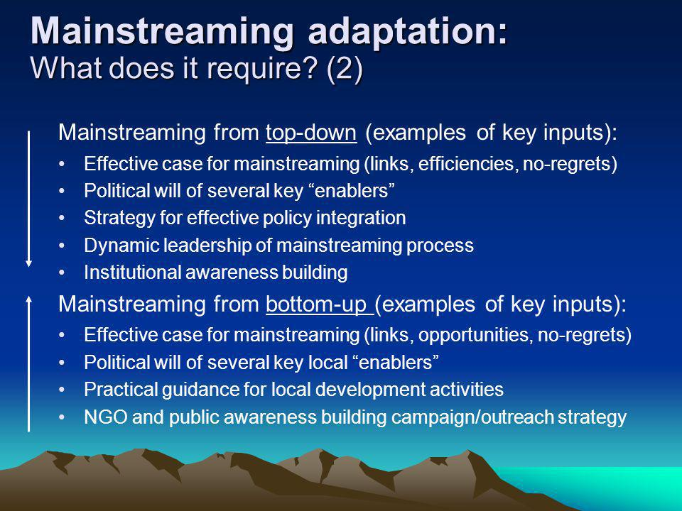 Mainstreaming adaptation: What does it require (2)