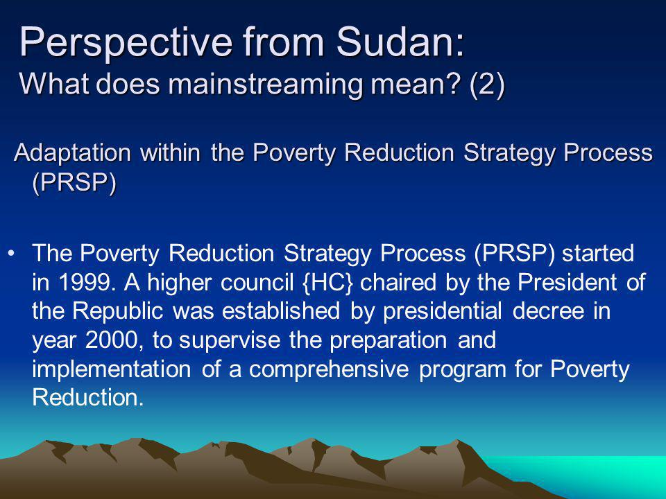 Perspective from Sudan: What does mainstreaming mean (2)