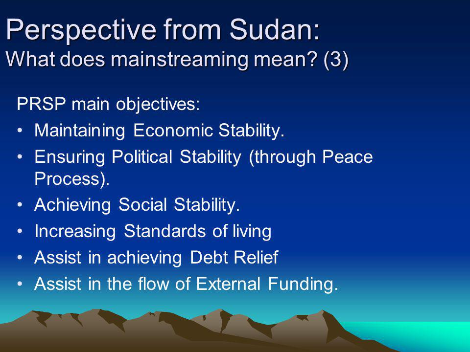 Perspective from Sudan: What does mainstreaming mean (3)