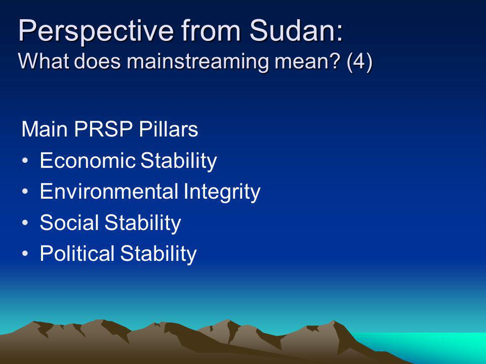 Perspective from Sudan: What does mainstreaming mean (4)