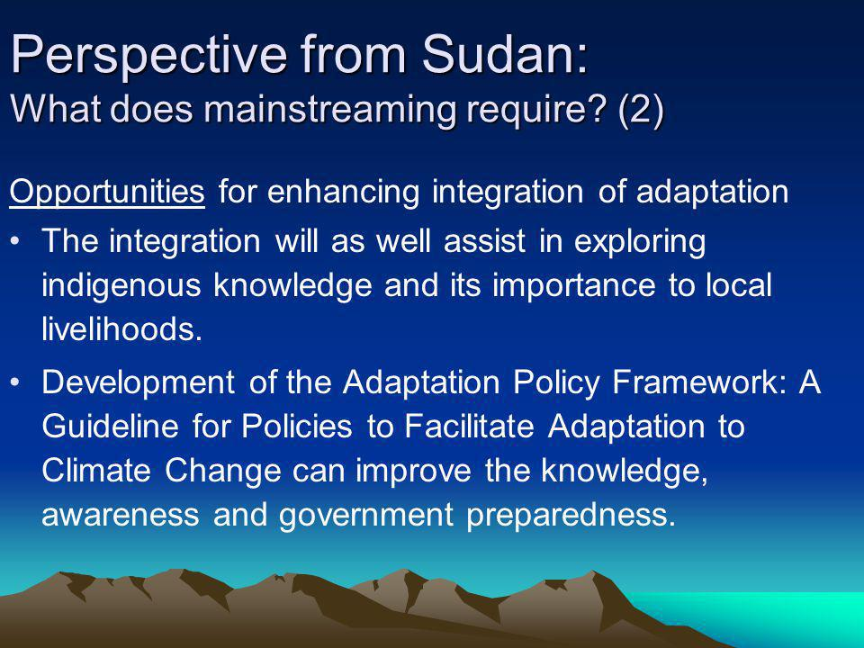 Perspective from Sudan: What does mainstreaming require (2)