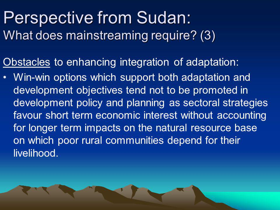 Perspective from Sudan: What does mainstreaming require (3)