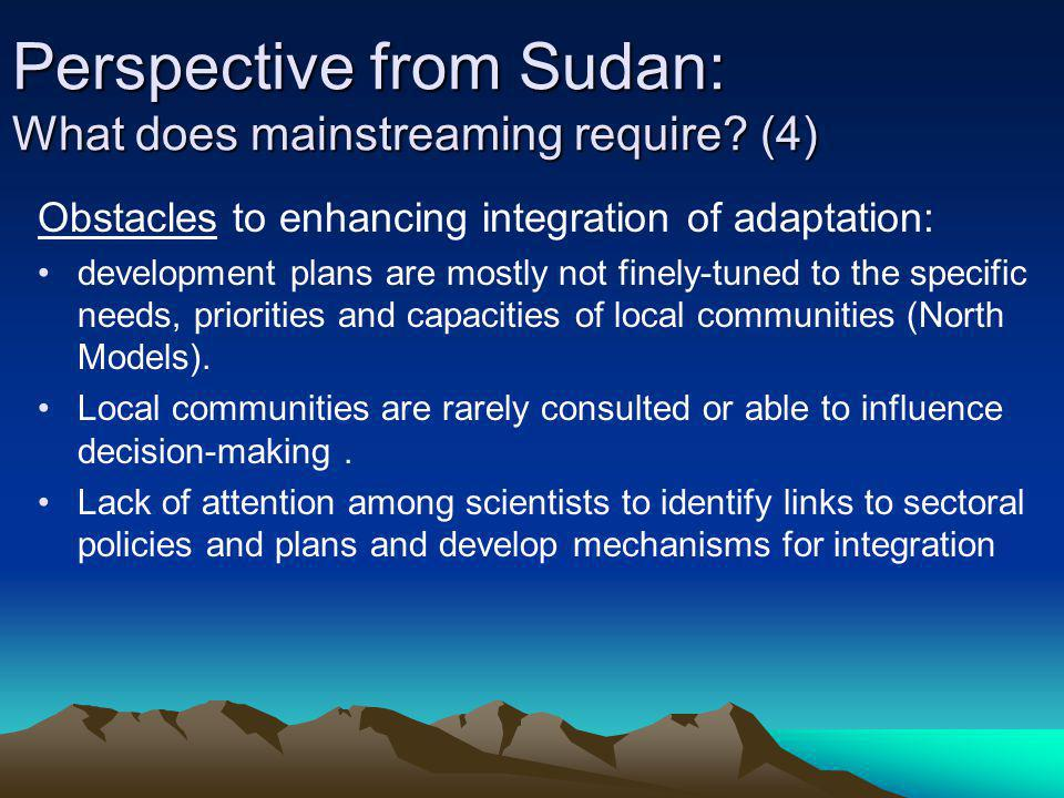Perspective from Sudan: What does mainstreaming require (4)