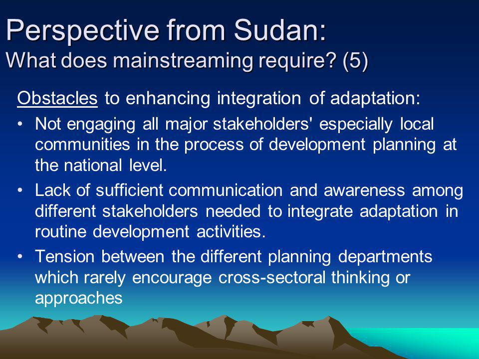 Perspective from Sudan: What does mainstreaming require (5)