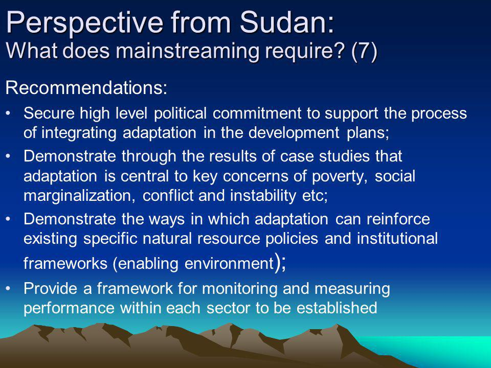 Perspective from Sudan: What does mainstreaming require (7)