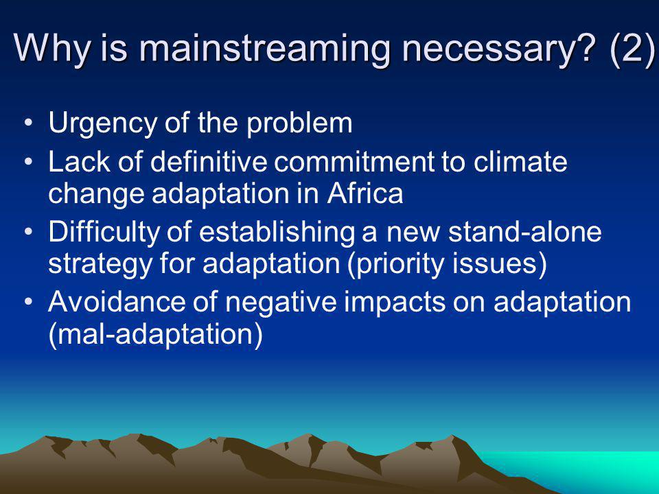 Why is mainstreaming necessary (2)