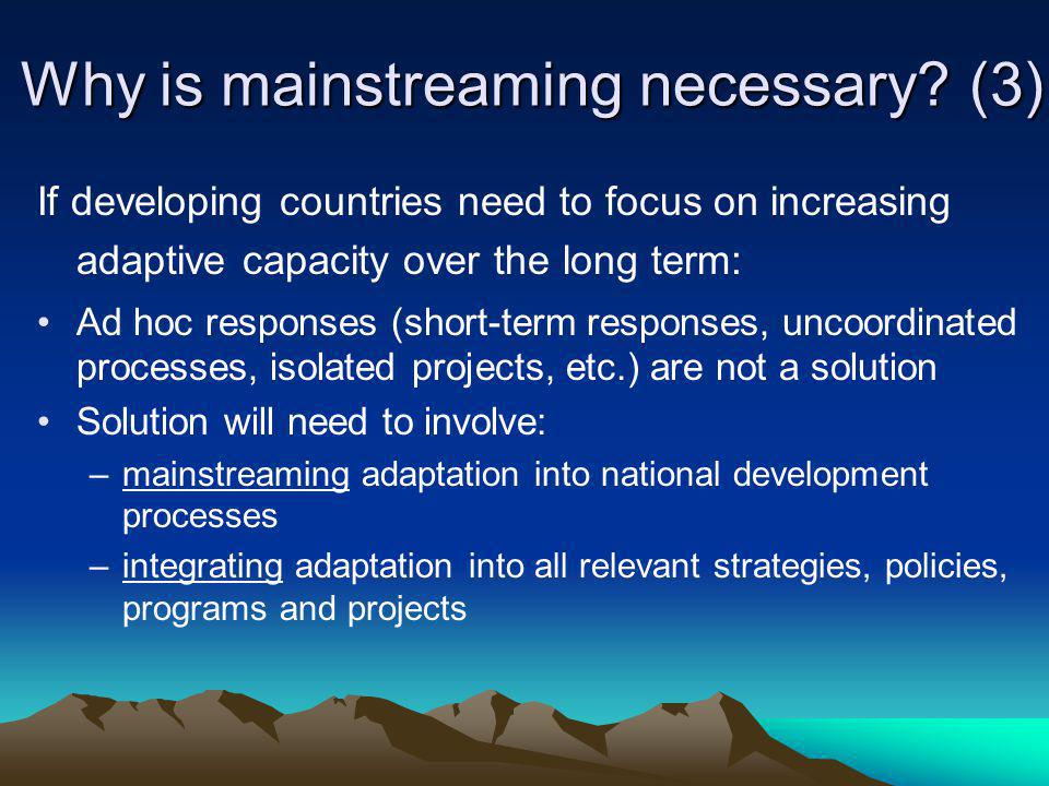 Why is mainstreaming necessary (3)