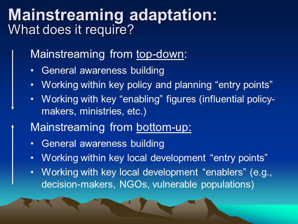 Mainstreaming adaptation: What does it require