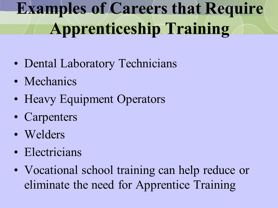 Examples of Careers that Require Apprenticeship Training