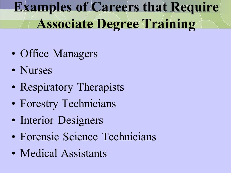 Examples of Careers that Require Associate Degree Training