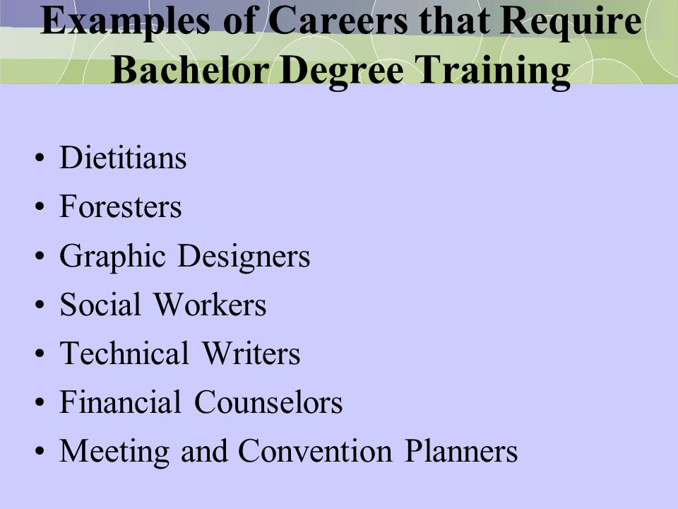 Examples of Careers that Require Bachelor Degree Training