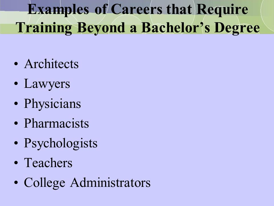 Examples of Careers that Require Training Beyond a Bachelor's Degree
