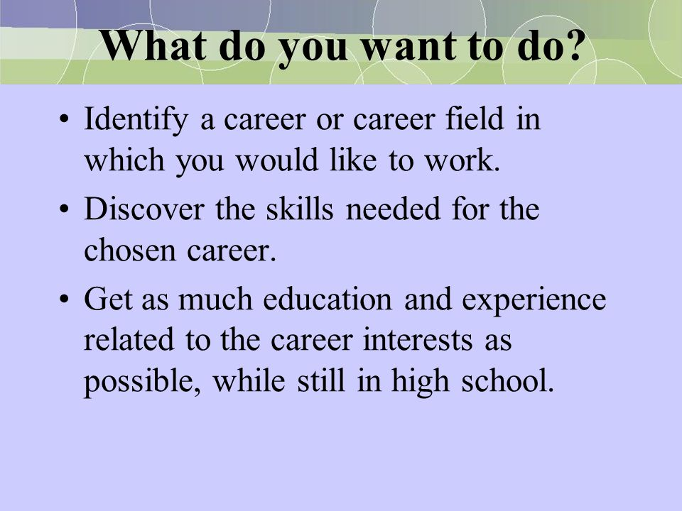 What do you want to do Identify a career or career field in which you would like to work. Discover the skills needed for the chosen career.