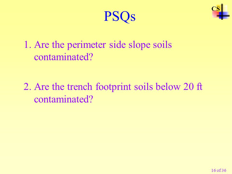 PSQs 1. Are the perimeter side slope soils contaminated