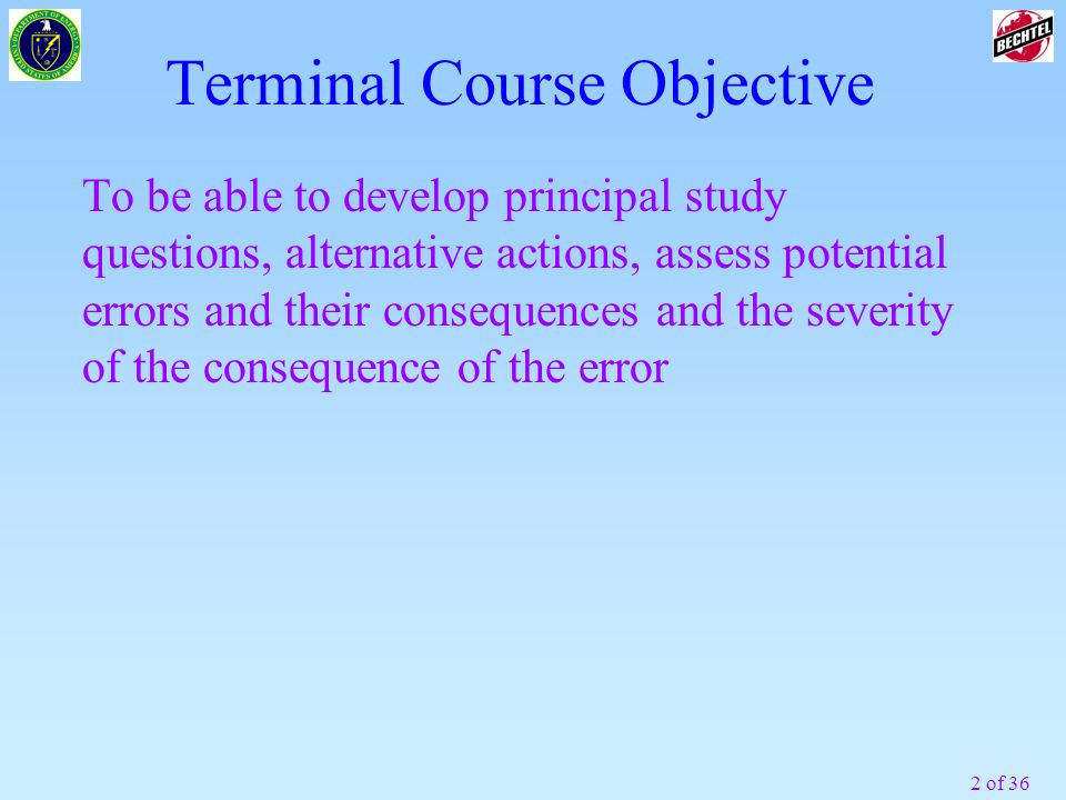 Terminal Course Objective