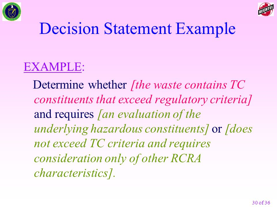 Decision Statement Example