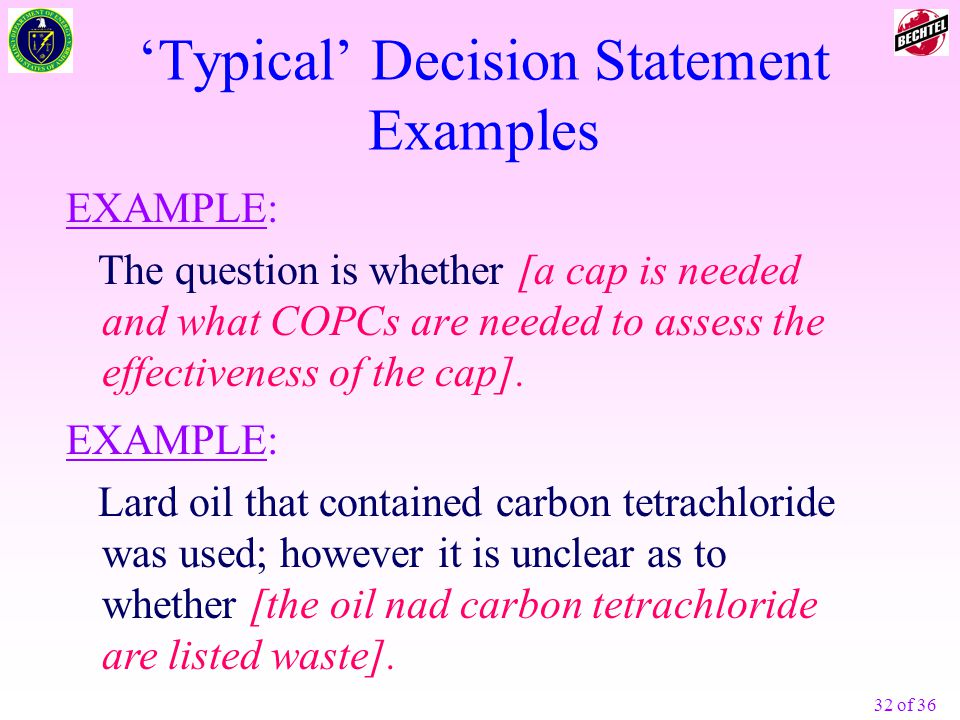 'Typical' Decision Statement Examples
