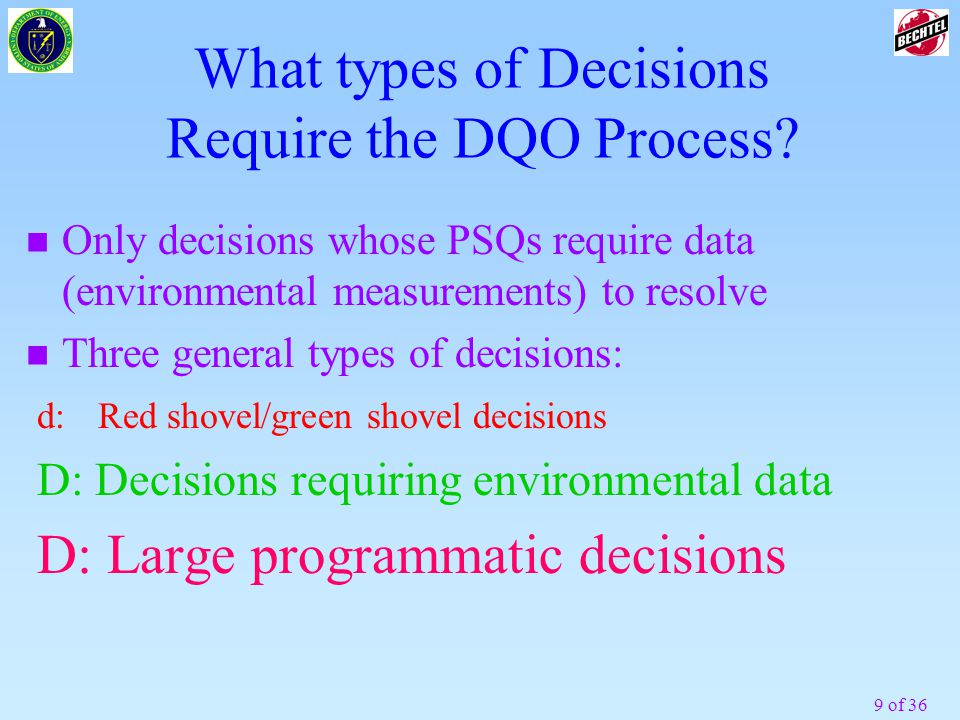 What types of Decisions Require the DQO Process