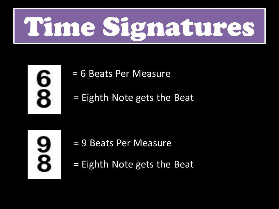 Time Signatures = 6 Beats Per Measure = Eighth Note gets the Beat