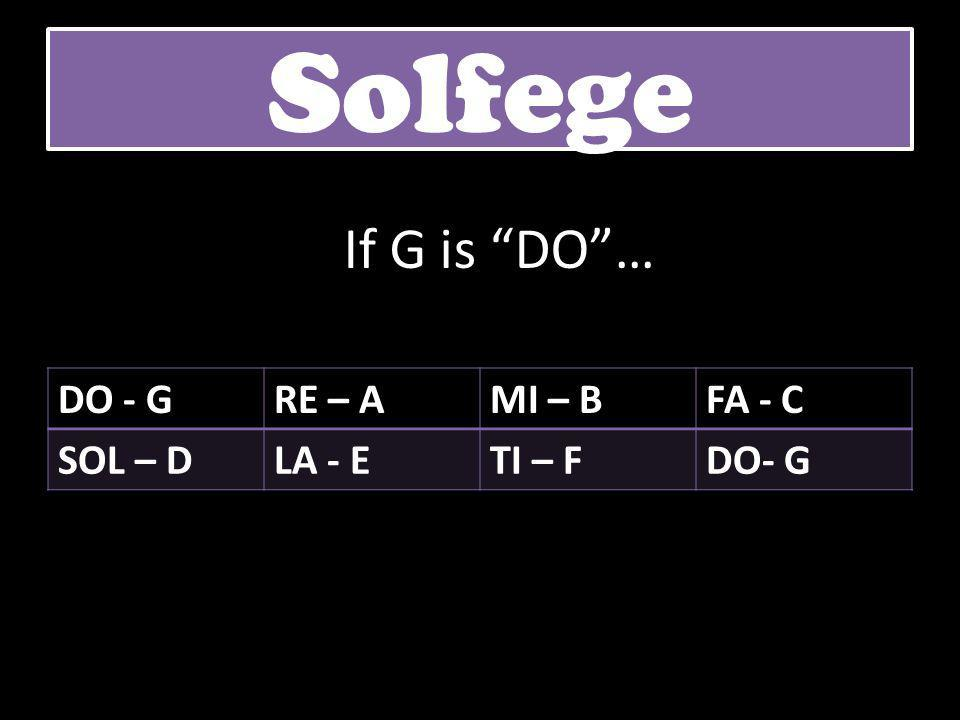 Solfege If G is DO … DO - G RE – A MI – B FA - C SOL – D LA - E