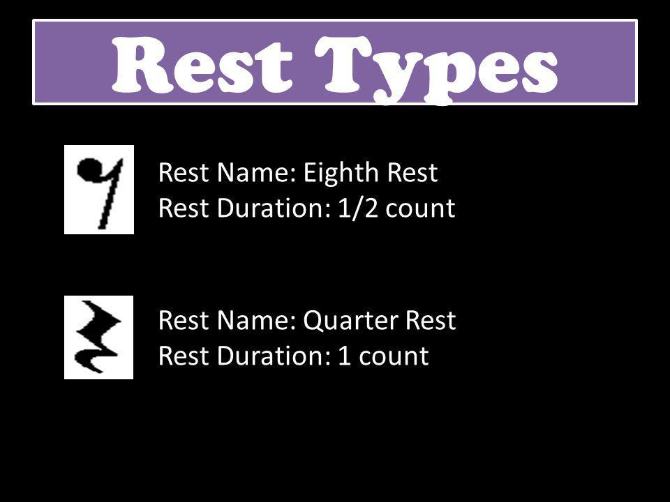 Rest Types Rest Name: Eighth Rest Rest Duration: 1/2 count