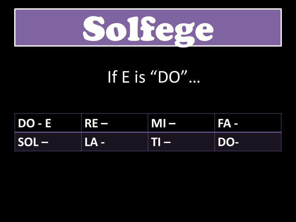 Solfege If E is DO … DO - E RE – MI – FA - SOL – LA - TI – DO-