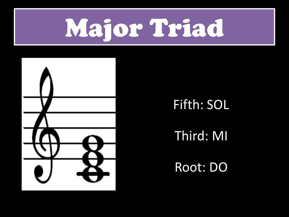 Major Triad Fifth: SOL Third: MI Root: DO