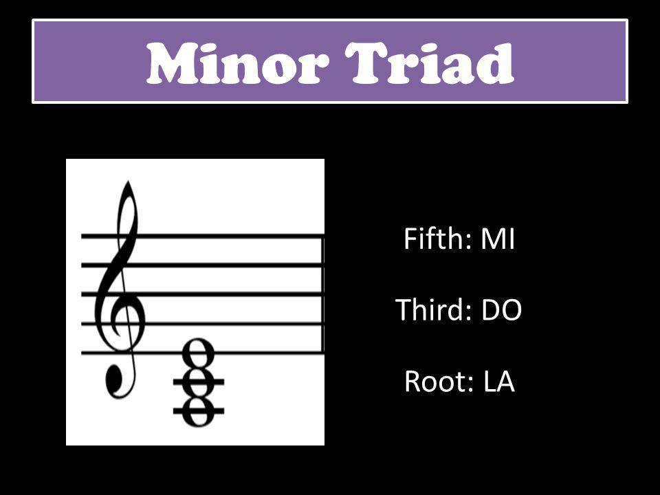 Minor Triad Fifth: MI Third: DO Root: LA
