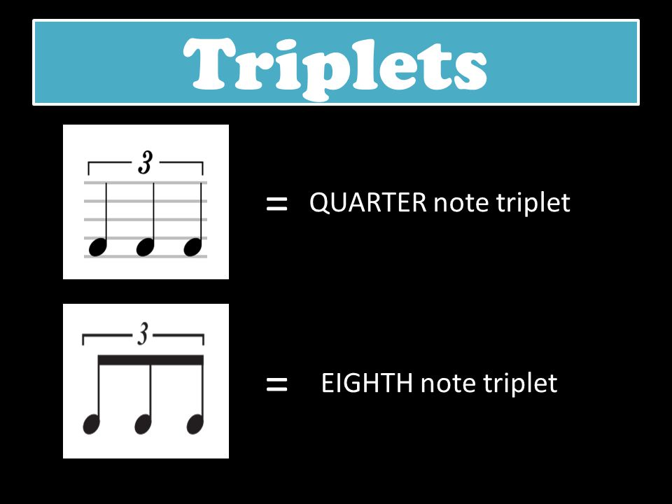 Triplets = QUARTER note triplet = EIGHTH note triplet