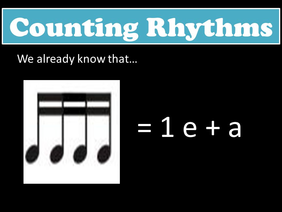 Counting Rhythms We already know that… = 1 e + a
