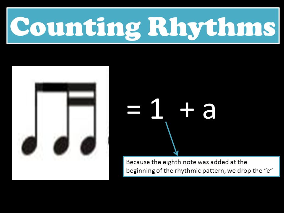 = 1 + a Because the eighth note was added at the beginning of the rhythmic pattern, we drop the e