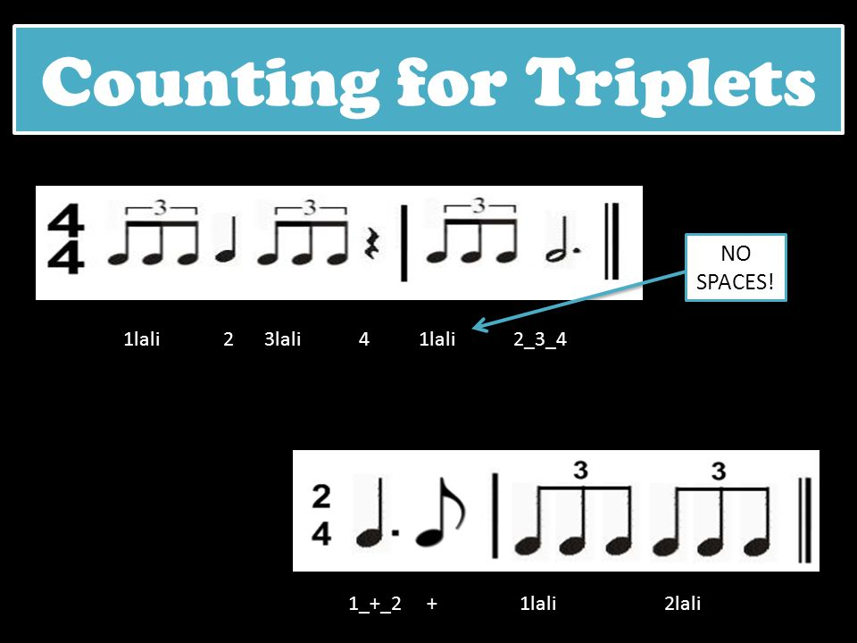 Counting for Triplets NO SPACES! 1lali 2 3lali 4 1lali 2_3_4