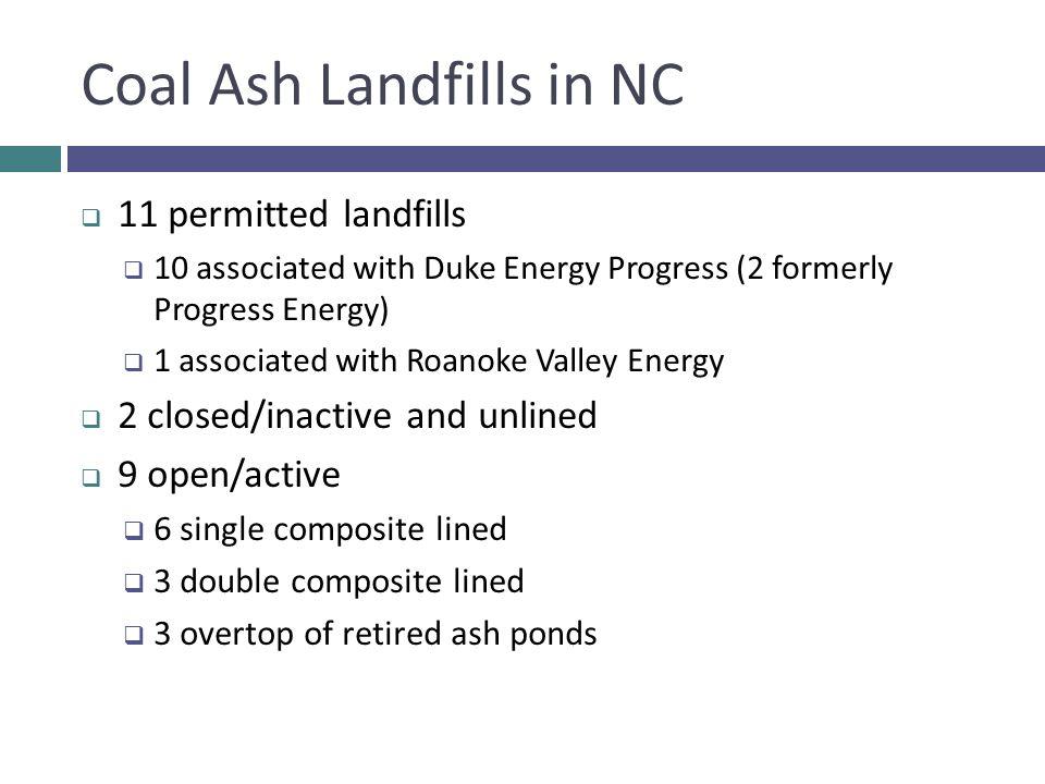 Coal Ash Landfills in NC