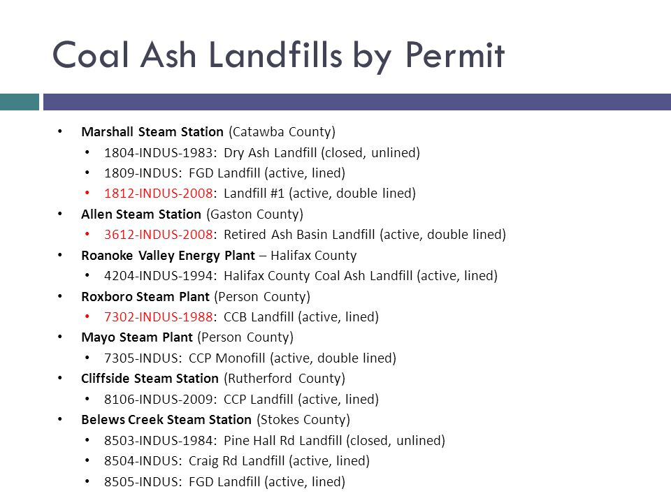 Coal Ash Landfills by Permit