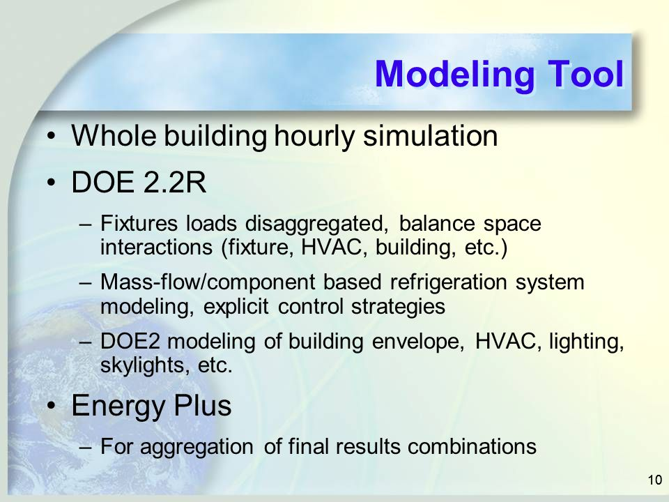 Modeling Tool Whole building hourly simulation DOE 2.2R Energy Plus