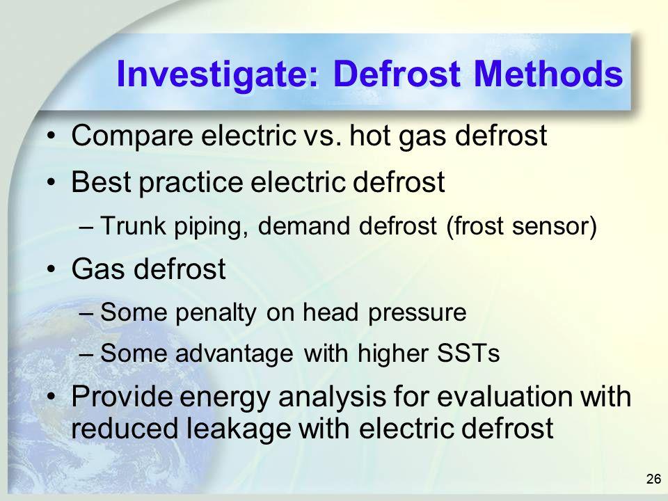Investigate: Defrost Methods