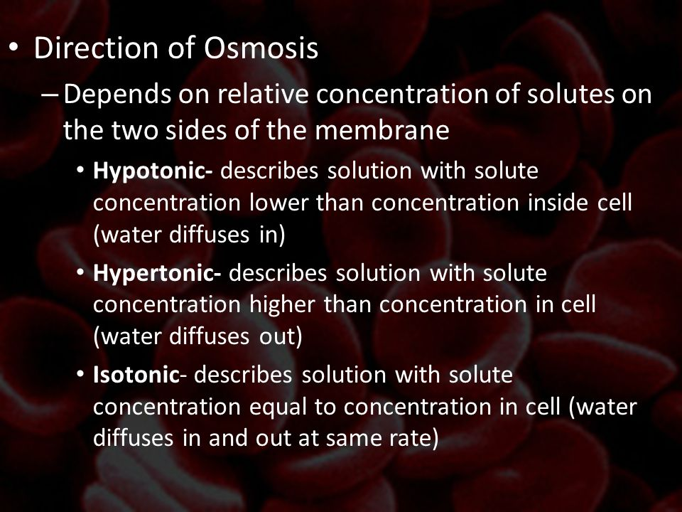 Direction of Osmosis Depends on relative concentration of solutes on the two sides of the membrane.