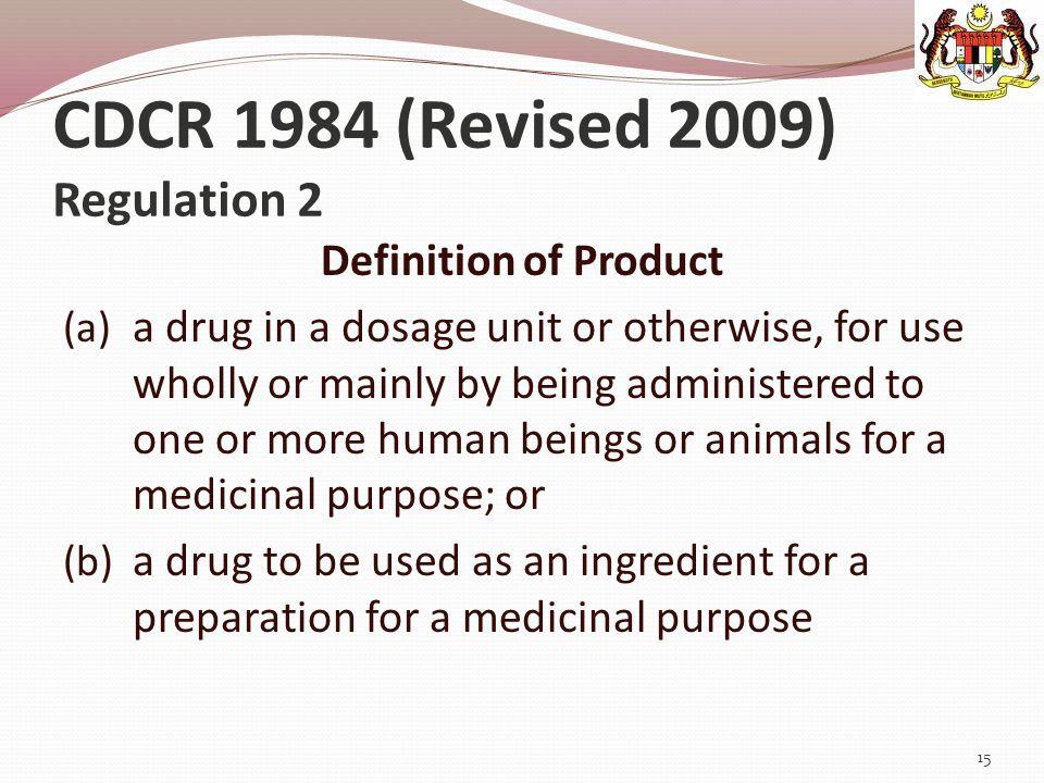 CDCR 1984 (Revised 2009) Regulation 2